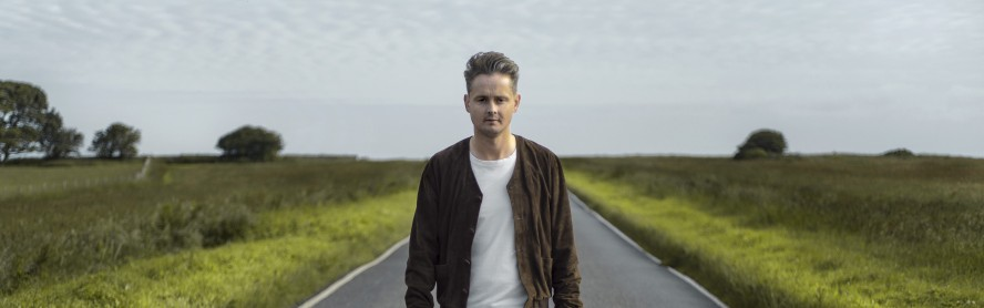 British singer Tom Chaplin on Beachy Head road, East Sussex, England